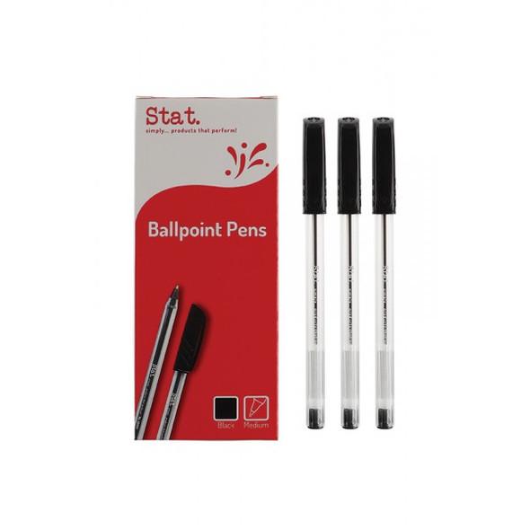 Pen STAT 1.0mm Ballpoint Medium Black Box 12