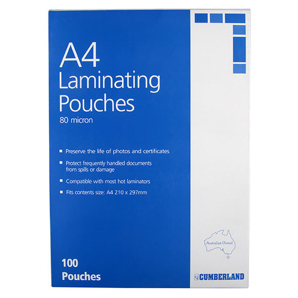 Cumberland Laminating Pouch  80 Micron A4  Clear Pack 100