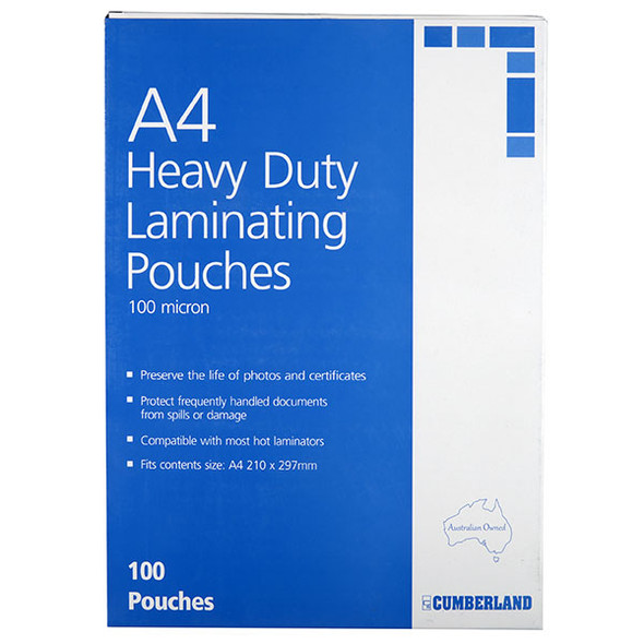 Cumberland Laminating Pouch 100 Micron A4 Clear Pack 100