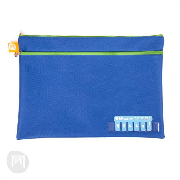 Micador Name Pencil Case - Dark Blue Twin Zip 375 X 264mm