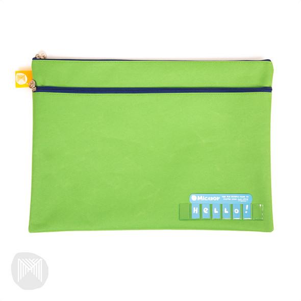 Micador Name Pencil Case - Dark Green Twin Zip 375 X 264mm