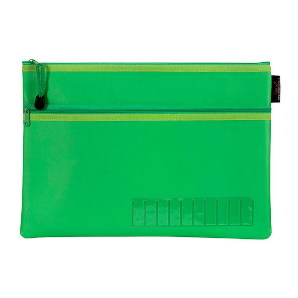 Celco Pencil Case Name Green Large 2 Zip 350MMX180mm