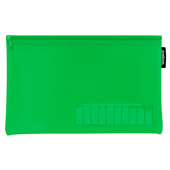 Celco Pencil Case Name Green Small 1 Zip 225mmx140mm