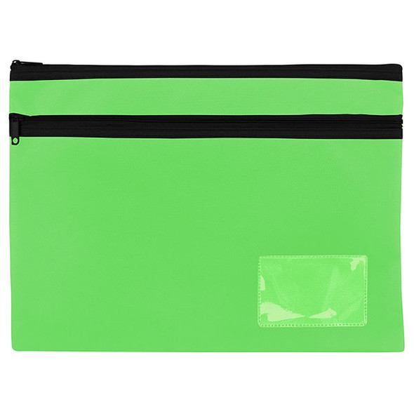 Celco Pencil Case Lime Green Blue 2 Zip Large 345x260mm