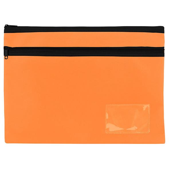 Celco Pencil Case Orange Black 2 Zip Large 345x260mm
