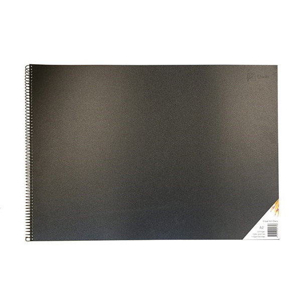 Quill Visual Art Diary PP Short Bound 110GSM A2 120 Pages - Black