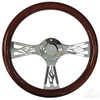 "Club Car Flame Real Wood Mahogany/Chrome 14"" Diameter Steering Wheel"