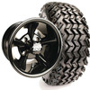 "EZ GO RXV Set of (4) 12"" Glossy Black Godfather Wheels & A/T Tires & Lift"
