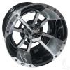 "10"" ITP SS112, Machined Wheel w/Black, w/ chrome center cap, 10x7"