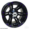 "12"" RHOX RX334 Gloss Black Wheel w/ Chrome Center Cap, 12x7 ET-25 with Color Wheel Inserts"