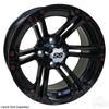 "14"" RHOX RX354 Gloss Black Wheel w/ Chrome Center Cap, 14x7 ET-25"