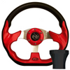 STEERING WHEEL KIT, RED/RACE 12.5 W/BLACK ADAPTER, E-Z-GO