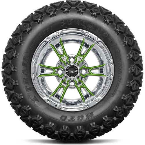 """12"""" Wicked 57 Series All-Terrain Chrome with Lime Set of 4"""