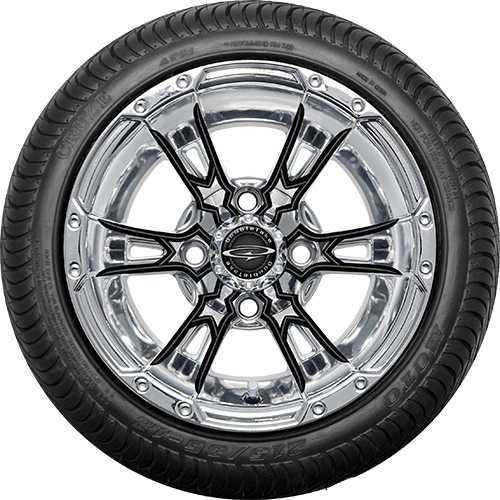 """12"""" Wicked 57 Series Street Chrome with Black Set of 4"""