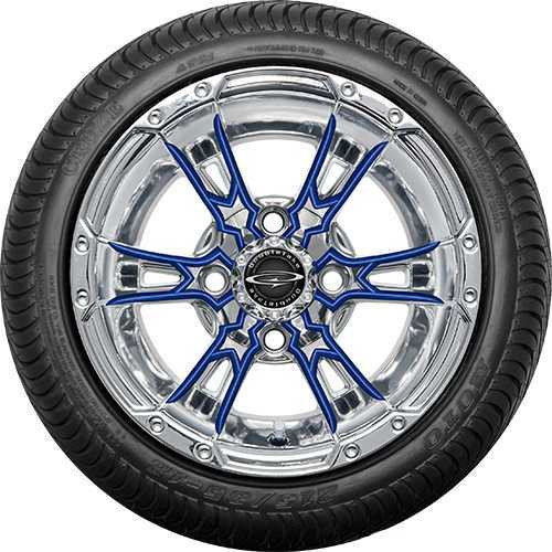 """12"""" Wicked 57 Series Street Chrome with Blue Set of 4"""