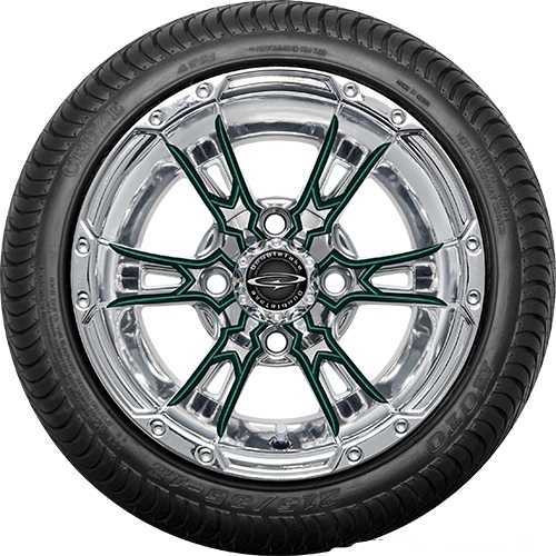 """12"""" Wicked 57 Series Street Chrome with Green Set of 4"""