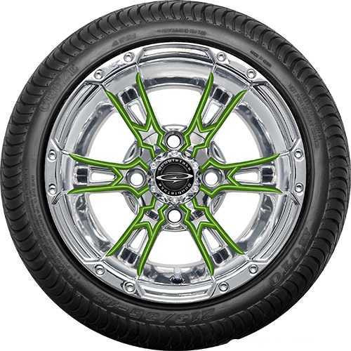 """12"""" Wicked 57 Series Street Chrome with Lime Set of 4"""
