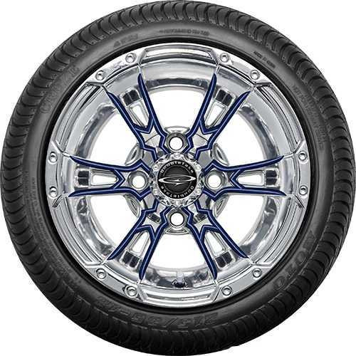 """12"""" Wicked 57 Series Street Chrome with Navy Set of 4"""