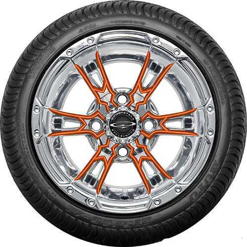 "12"" Wicked 57 Series Street Chrome with Orange Set of 4"