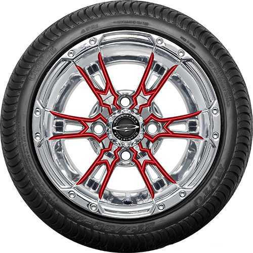 """12"""" Wicked 57 Series Street Chrome with Red Set of 4"""