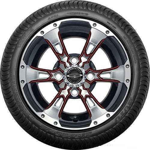 """12"""" Wicked 57 Series Street Machined Black with Burgundy Set of 4"""