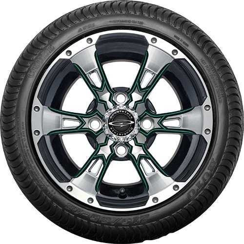 """12"""" Wicked 57 Series Street Machined Black with Green Set of 4"""