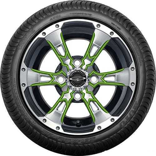 """12"""" Wicked 57 Series Street Machined Black with Lime Set of 4"""