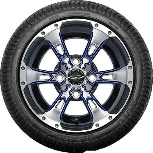 """12"""" Wicked 57 Series Street Machined Black with Navy Set of 4"""