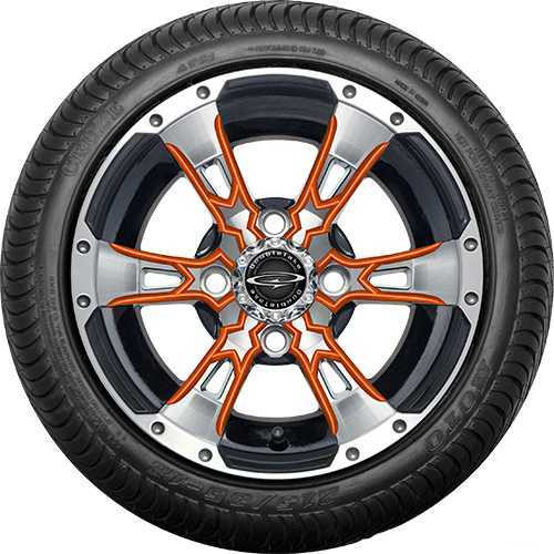 "12"" Wicked 57 Series Street Machined Black with Orange Set of 4"