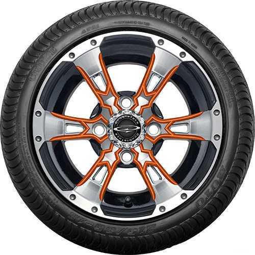 "12"" Wicked 57 Series Street Machined Black with Orange Set of 4"