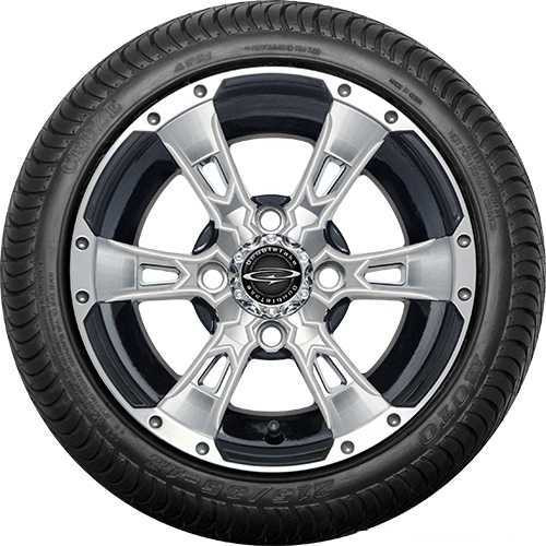 """12"""" Wicked 57 Series Street Machined Black with Pearl Set of 4"""