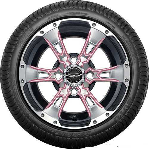 "12"" Wicked 57 Series Street Machined Black with Pink Set of 4"