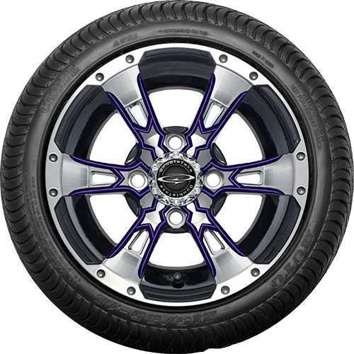 """12"""" Wicked 57 Series Street Machined Black with Purple Set of 4"""