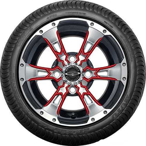 """12"""" Wicked 57 Series Street Machined Black with Red Set of 4"""