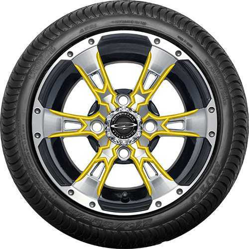 "12"" Wicked 57 Series Street Machined Black with Yellow Set of 4"