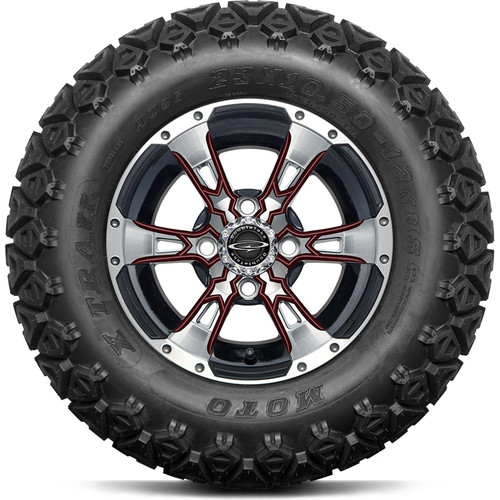"""12"""" Wicked 57 Series Machined Black A/T with Burgundy Set of 4"""