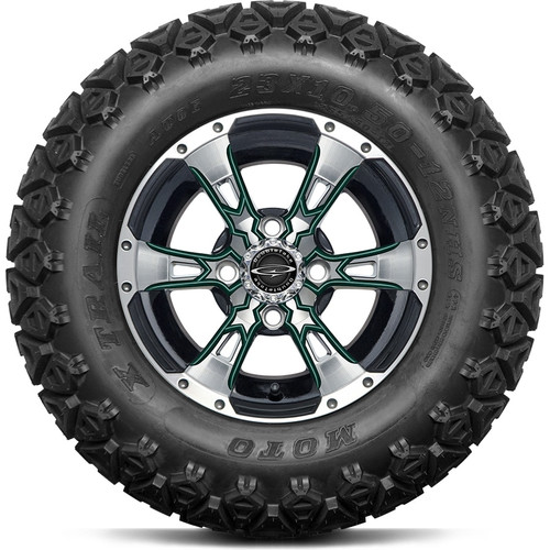 """12"""" Wicked 57 Series Machined Black A/T with Green Set of 4"""