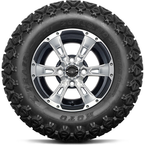 """12"""" Wicked 57 Series Machined Black A/T with Pearl Set of 4"""
