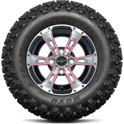 """12"""" Wicked 57 Series Machined Black A/T with Pink Set of 4"""