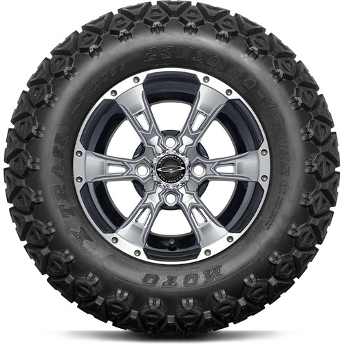 """12"""" Wicked 57 Series Machined Black A/T with Silver Set of 4"""