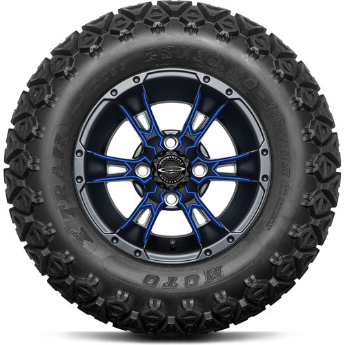"12"" Wicked 57 Series Black Satin A/T with Blue Set of 4"