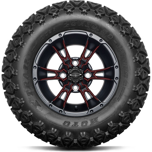 """12"""" Wicked 57 Series Black Satin A/T with Burgundy Set of 4"""