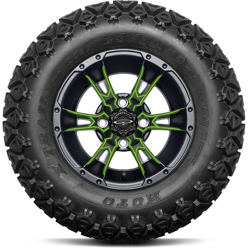 """12"""" Wicked 57 Series Black Satin A/T with Lime Set of 4"""