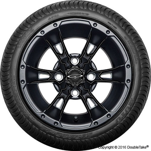 "12"" Wicked 57 Series Street Satin Black with Black Set of 4"
