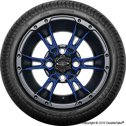 """12"""" Wicked 57 Series Street Satin Black with Blue Set of 4"""
