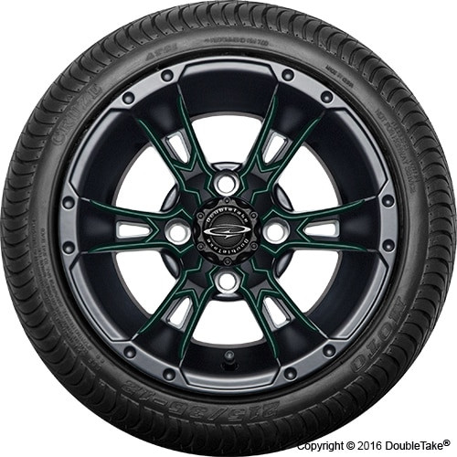 """12"""" Wicked 57 Series Street Satin Black with Green Set of 4"""