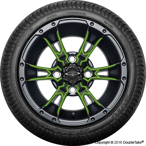 """12"""" Wicked 57 Series Street Satin Black with Lime Set of 4"""