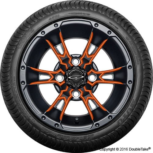 "12"" Wicked 57 Series Street Satin Black with Orange Set of 4"