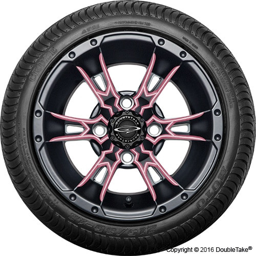"12"" Wicked 57 Series Street Satin Black with Pink Set of 4"