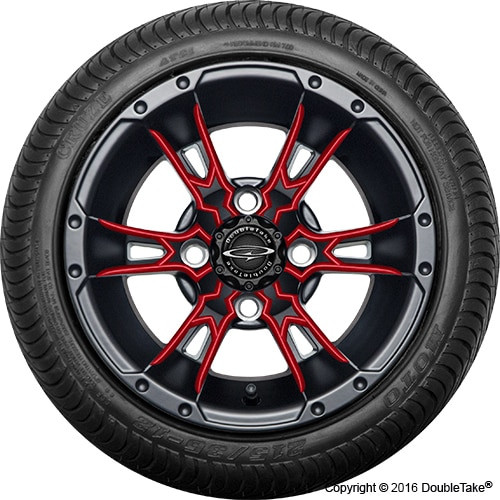 "12"" Wicked 57 Series Street Satin Black with Red Set of 4"